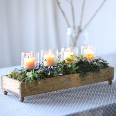 Wood & Iron Candle Trough