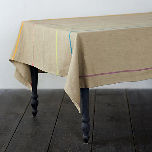Rainbow Stripe Linen Tablecloth