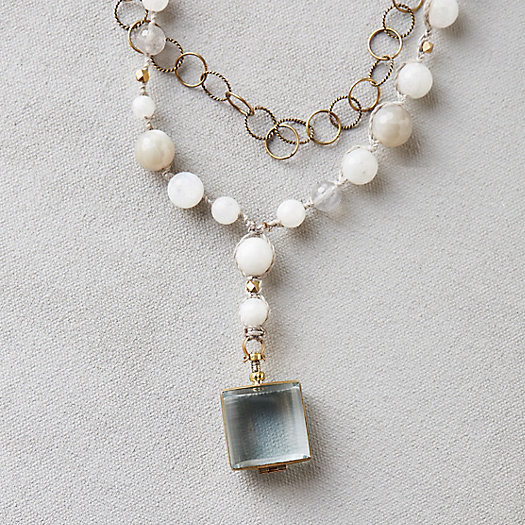Moonstone & Glass Locket Necklace