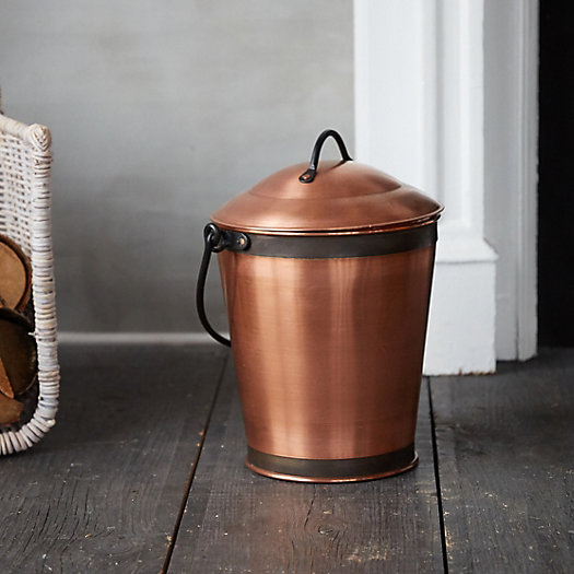 Solid Copper Ash Bucket