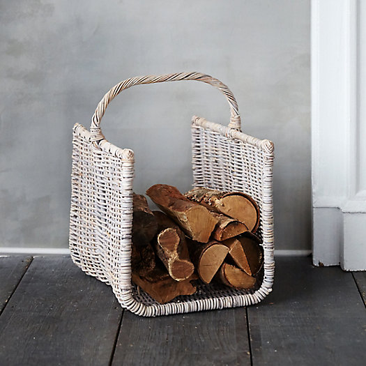 Whitewashed Wicker Log Basket