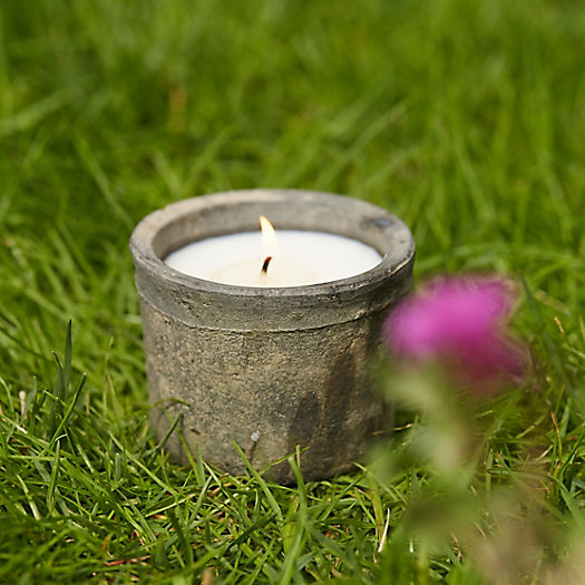 Bamboo Citronella Candle, Small Earth Fired Pot