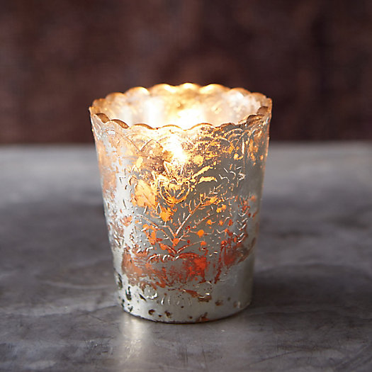 Silver Scallop Votive Holder