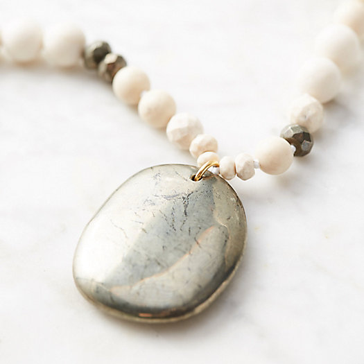 Polished Pyrite & Jasper Necklace