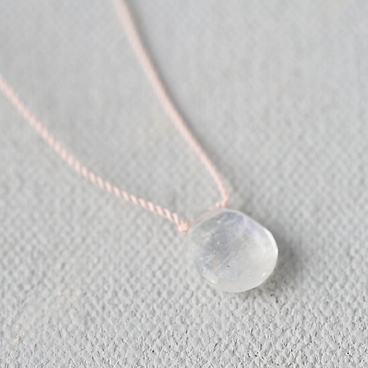 Rainbow Moonstone Droplet Necklace