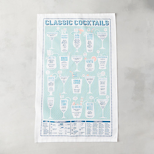 Classic Cocktails Tea Towel