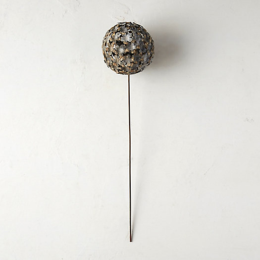Aged Iron Floral Globe Stake