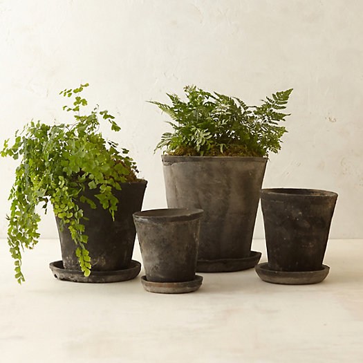Earth Fired Clay Herb Pot + Saucer, Slate 5-9""