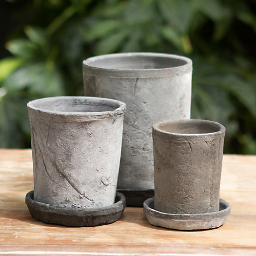 Earth Fired Clay Tall Sill Pot + Saucer, Slate 4-6""