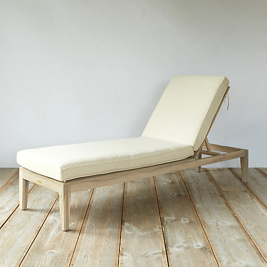 Slatted Teak Lounger + Outdoor Cushion