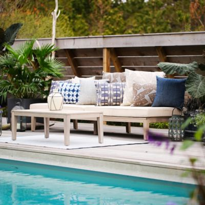 Slatted Teak Sofa + Outdoor Cushion