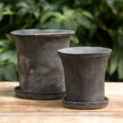 Linen Wrapped Flare Pot, Slate