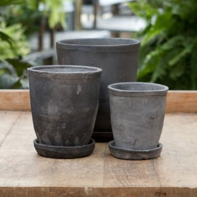 Linen Wrapped Vase Pot, Slate