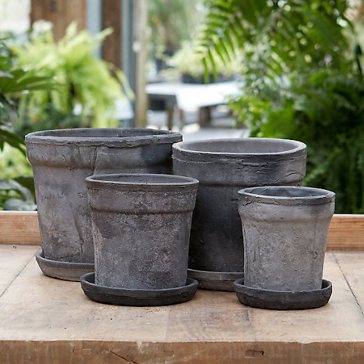 Earth Fired Clay Wide Rim Pot + Saucer, Slate