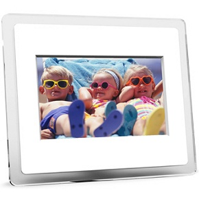 Momento 70 7 inch White LCD Photo Frame   $80 Shipped