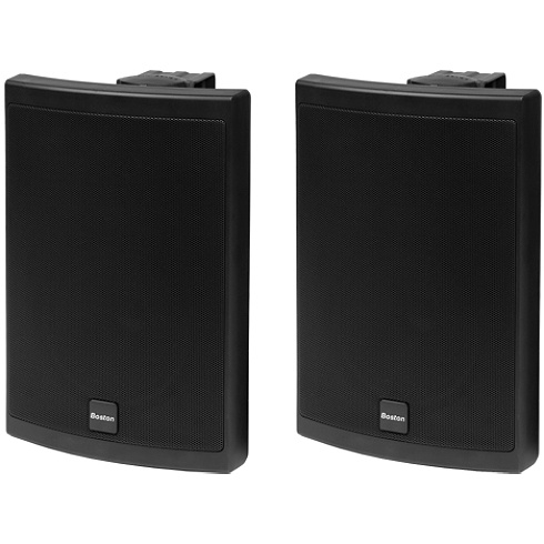 2-way black outdoor speaker pair