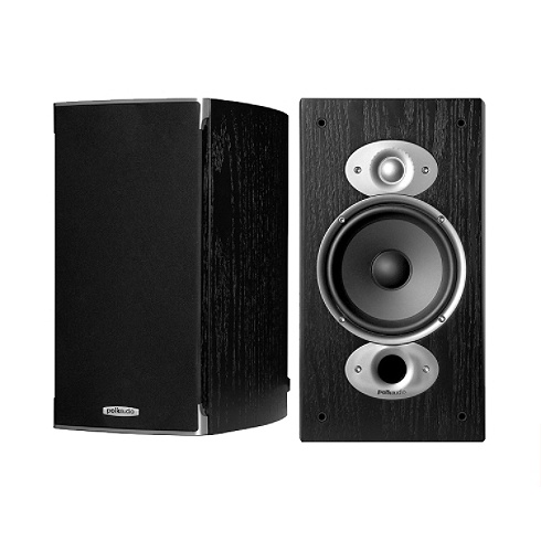 2-way black RTiA Series bookshelf speaker pair