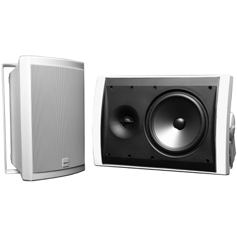 2-way white outdoor speaker pair