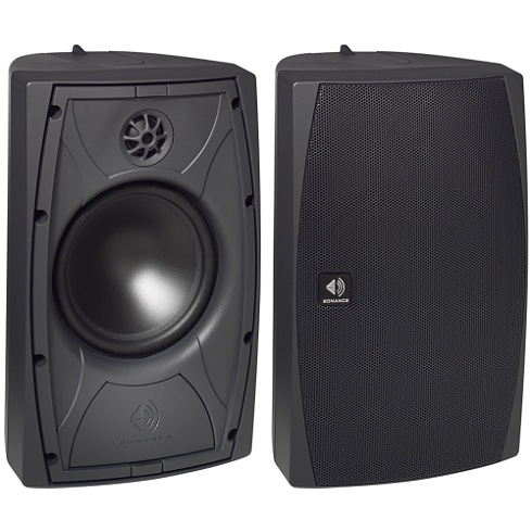 2-way black Mariner outdoor speaker pair