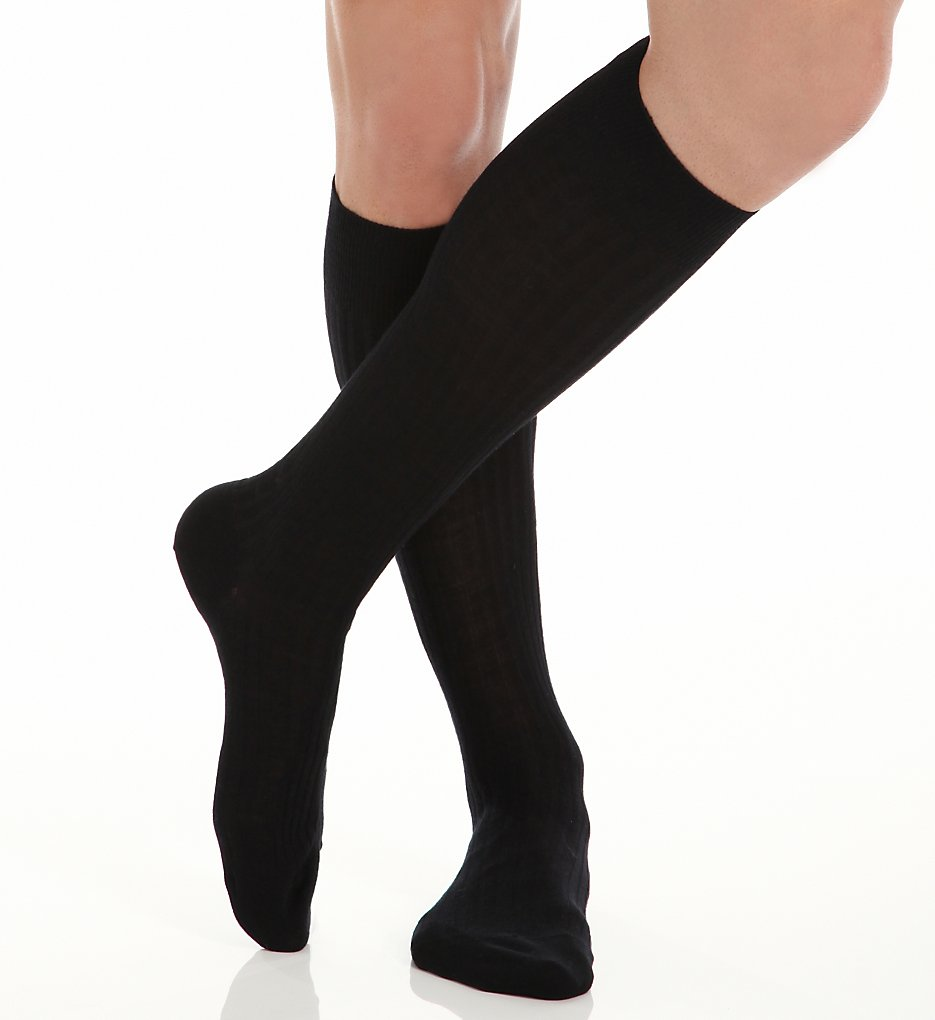 Pantherella Mens Naish Rib Over the Calf Merino Wool Socks Charcoal
