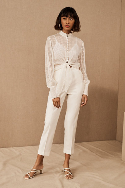 View larger image of Catherine Deane Swan Blouse & The Tailory New York x BHLDN Westlake Suit Pant