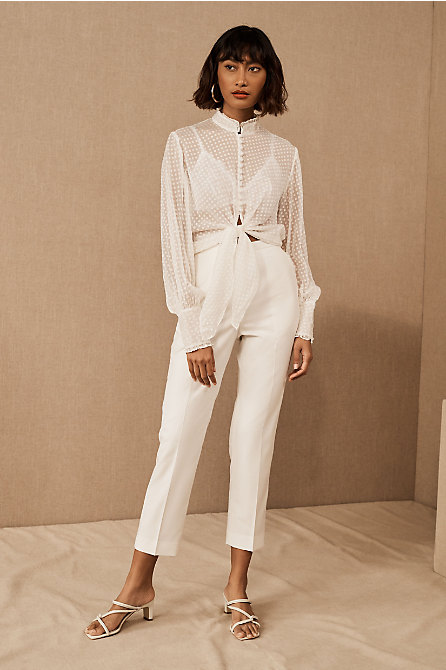 Catherine Deane Swan Blouse & The Tailory New York x BHLDN Westlake Suit Pant