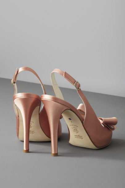 Something Bleu Blush Bow-Topped Slingbacks | BHLDN