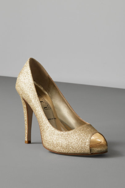 Gold Moonlit Peep-Toes | BHLDN