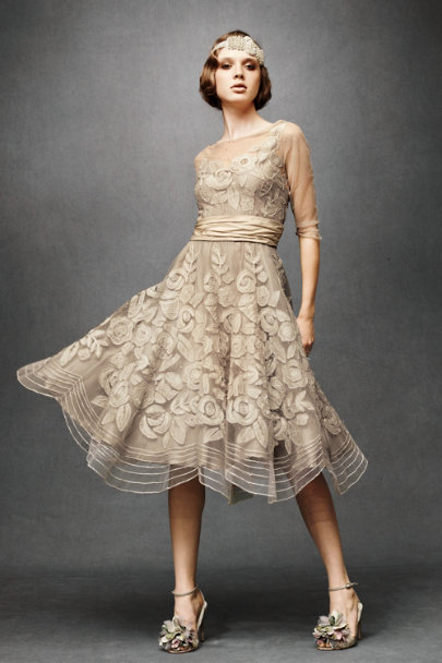 Tracy Reese Taupe Combo Tulle Era Dress | BHLDN