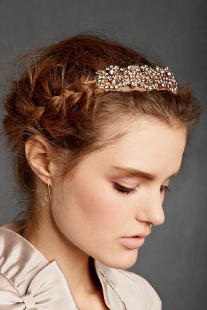Jennifer Behr Gold/Blush Crystallized Chiffon Headband | BHLDN