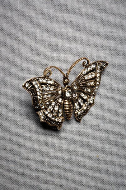 Azaara Antique Finish Butterfly Brooch | BHLDN