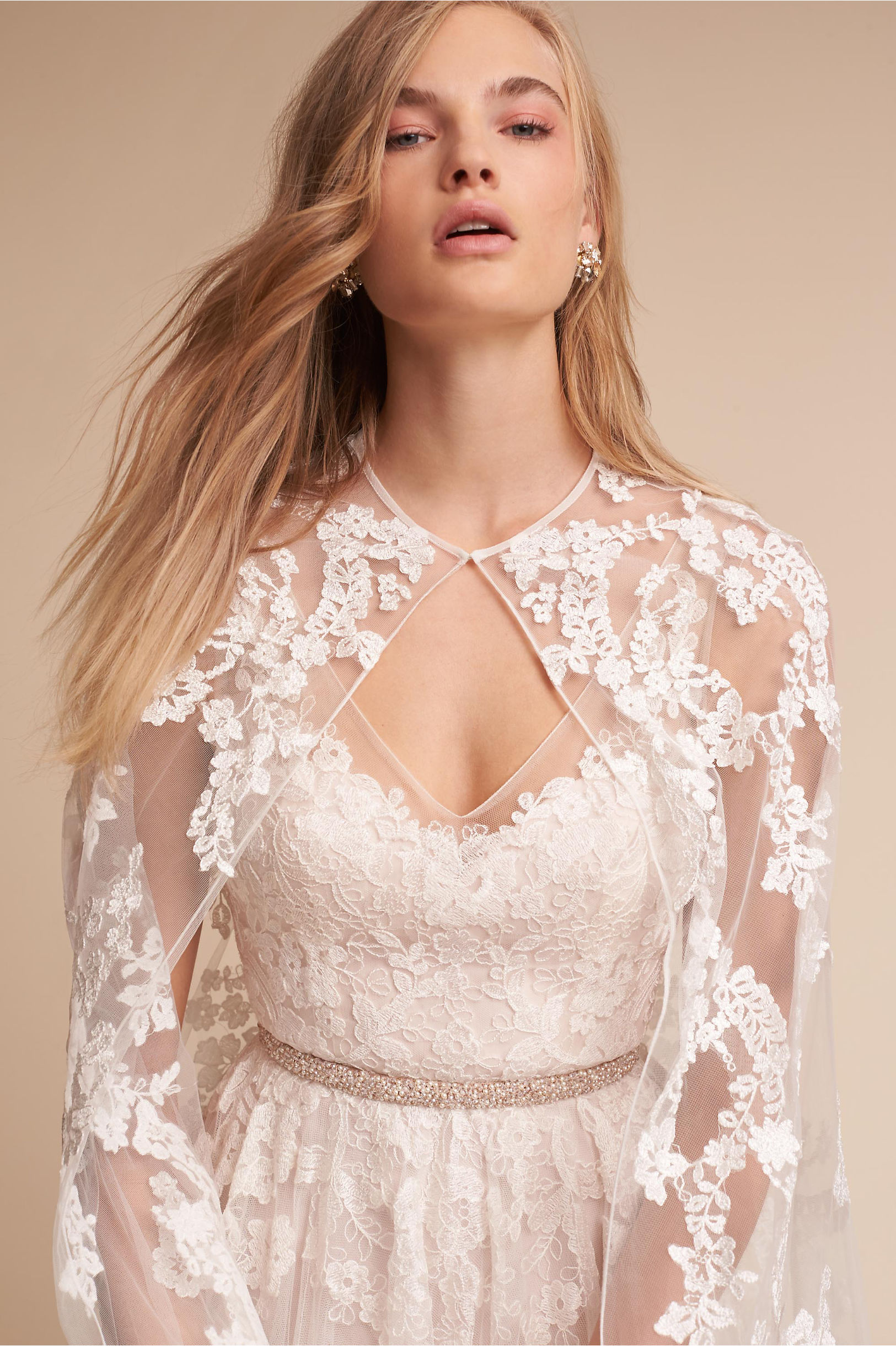 Reagan Gown & Anastasia Cape in Bride | BHLDN