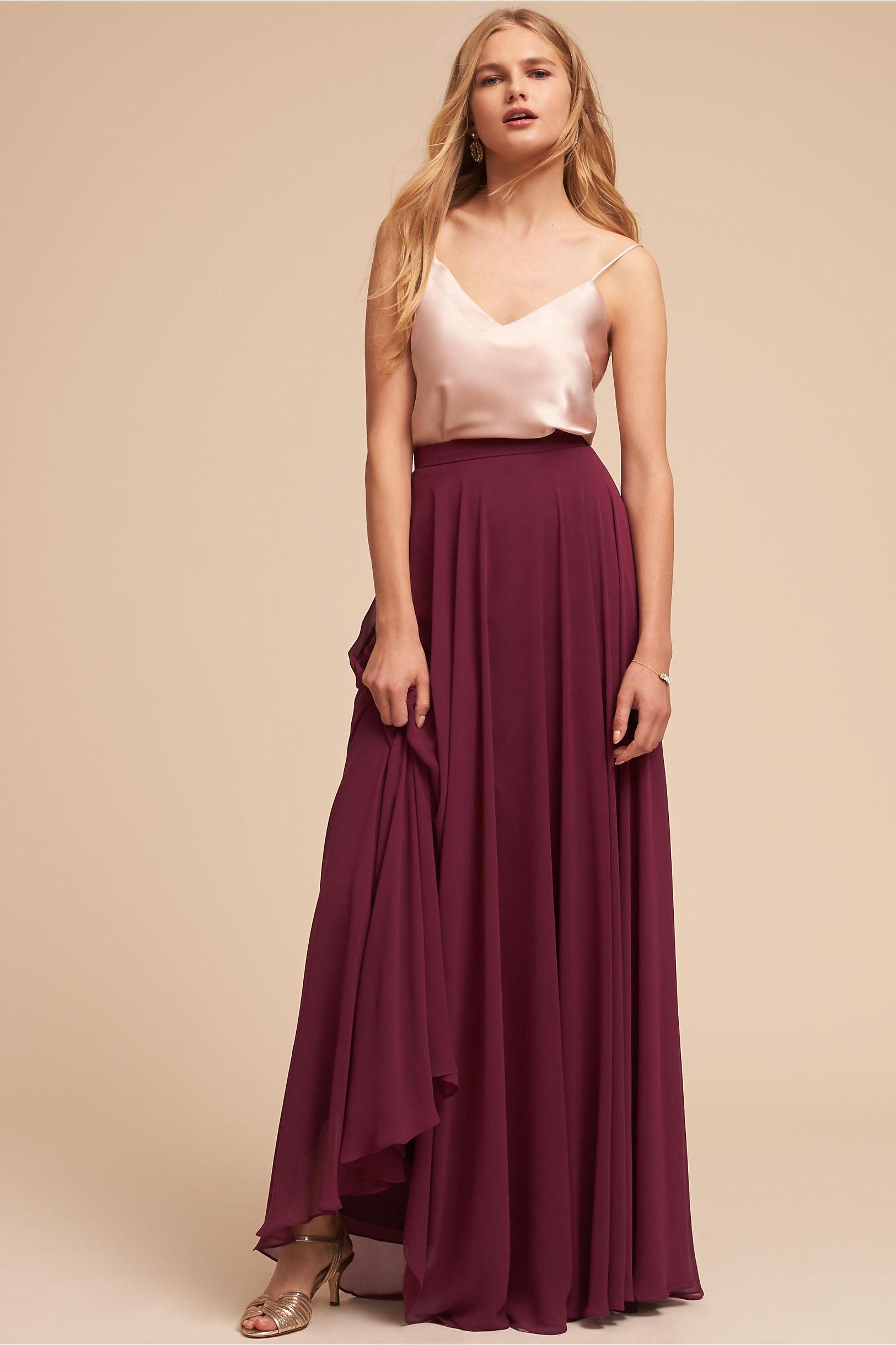 Metallic silver gold bridesmaid dresses bhldn laurel cami top hampton skirt ombrellifo Image collections