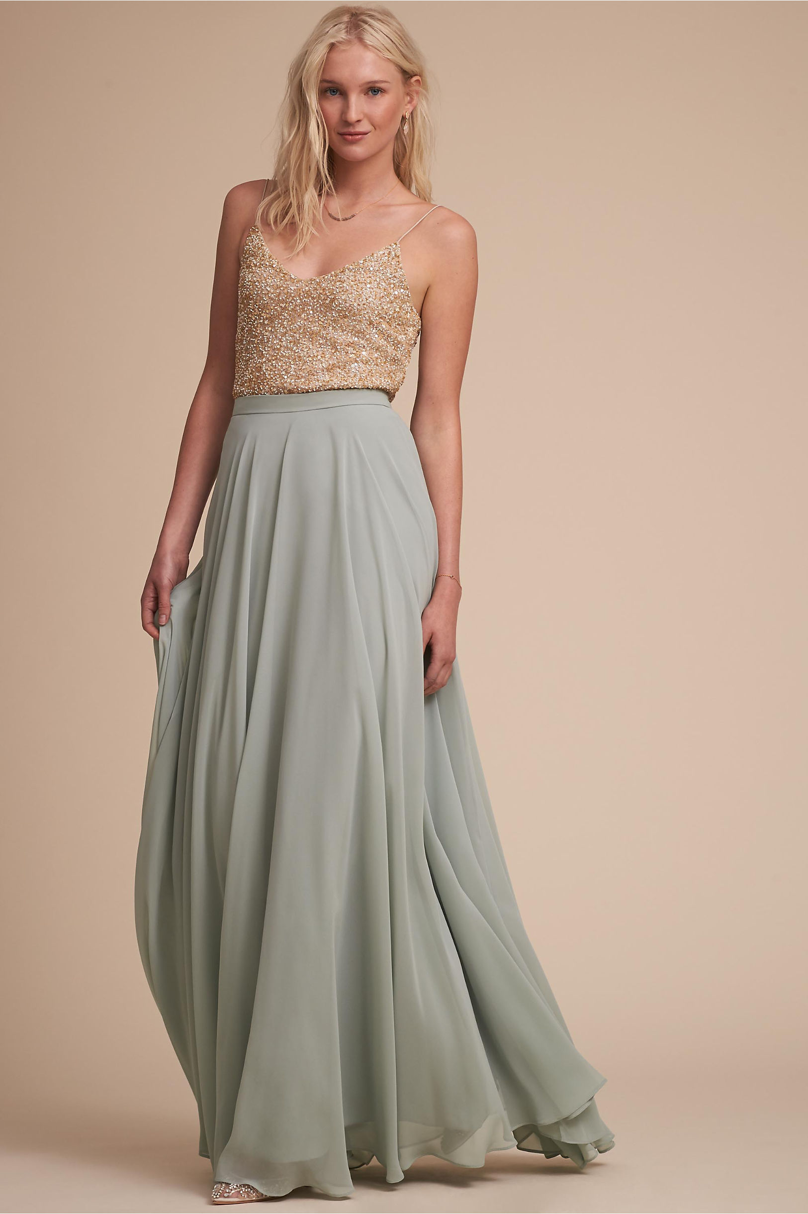 Metallic silver gold bridesmaid dresses bhldn allegro top hampton skirt ombrellifo Choice Image