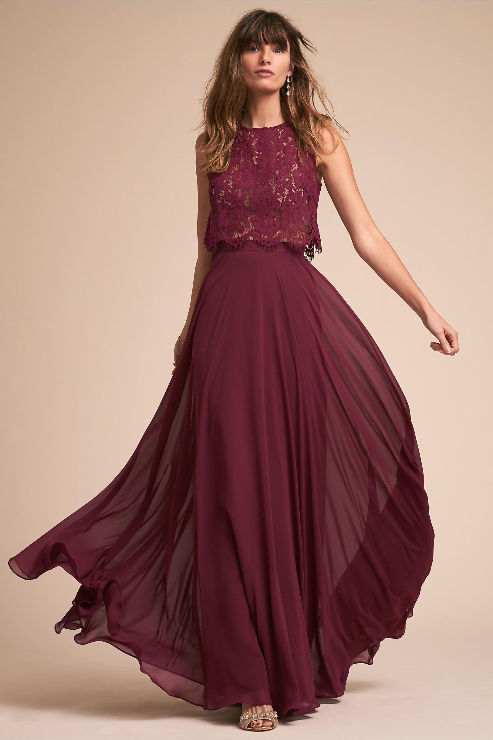 Burgundy red wine colored bridesmaid dresses bhldn cleo top hampton skirt ombrellifo Image collections