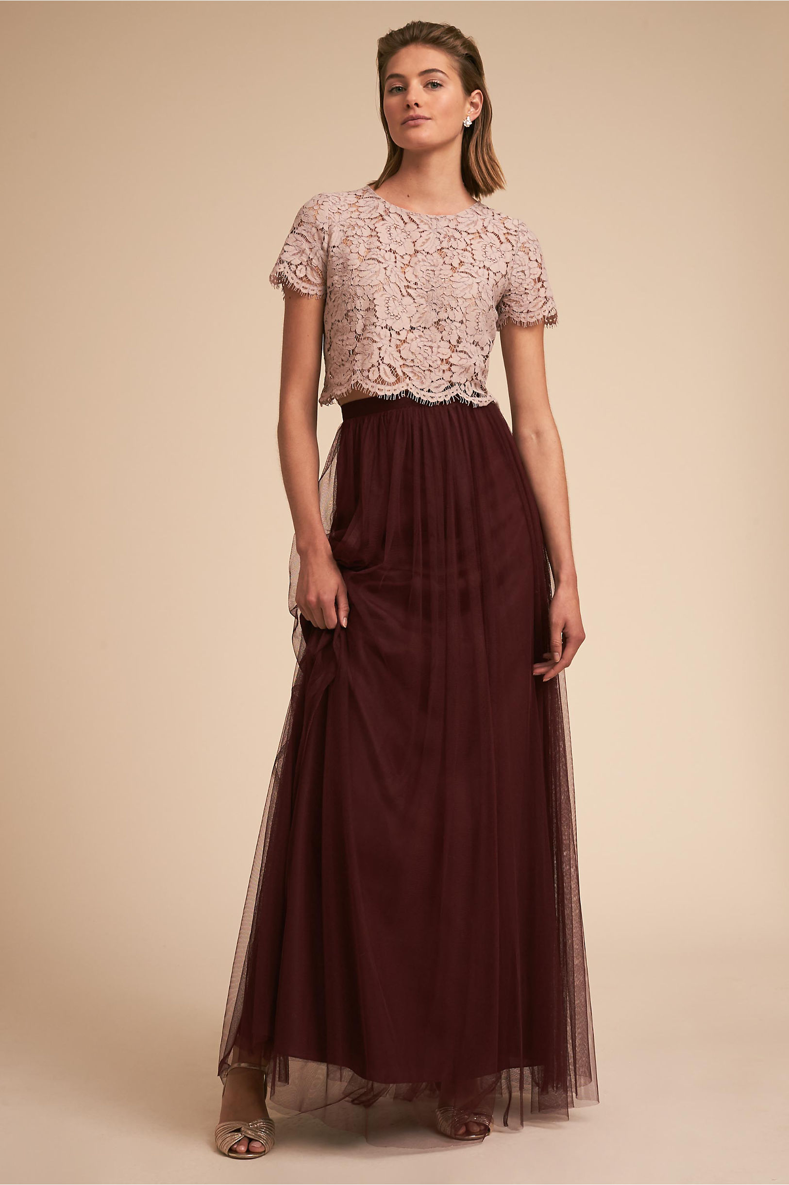 Burgundy red wine colored bridesmaid dresses bhldn kenzie top louise tulle skirt ombrellifo Gallery