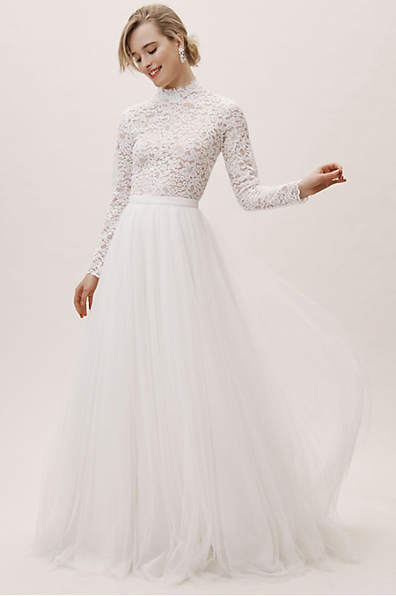 Home Bride Wedding Dresses By Neckline High Neck Bhldn