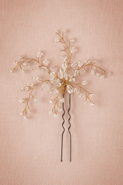 Gold/Crystal Dewed Vines Hairpin | BHLDN