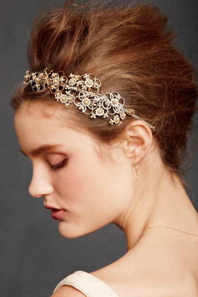 Debra Moreland Gold/Silver Botanical Garland Headband | BHLDN