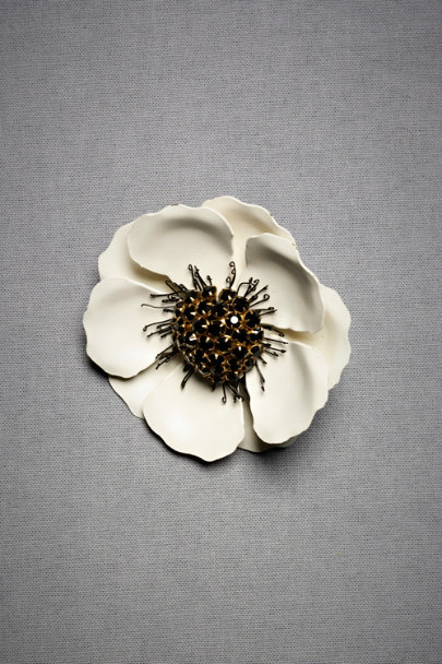 dogeared Ivory Anemone Brooch | BHLDN