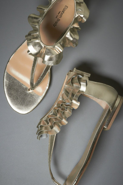elizabeth brady Gold Skirted Ankle Sandals | BHLDN
