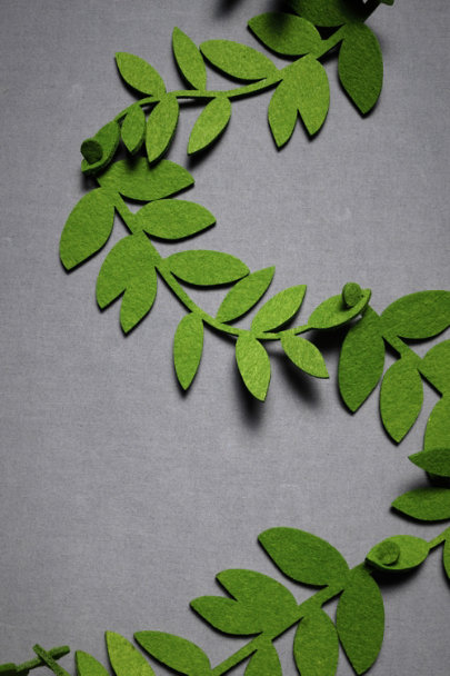 Green Felted Foliage Garland (20) | BHLDN