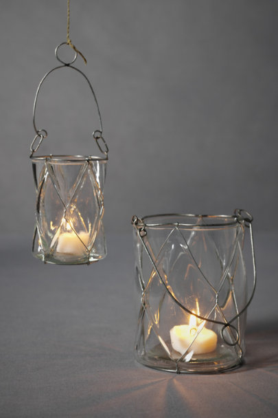 Clear Dimpled Pane Candle Baskets | BHLDN
