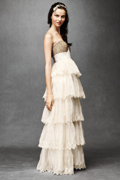 Champagne Burnished Organza Gown | BHLDN