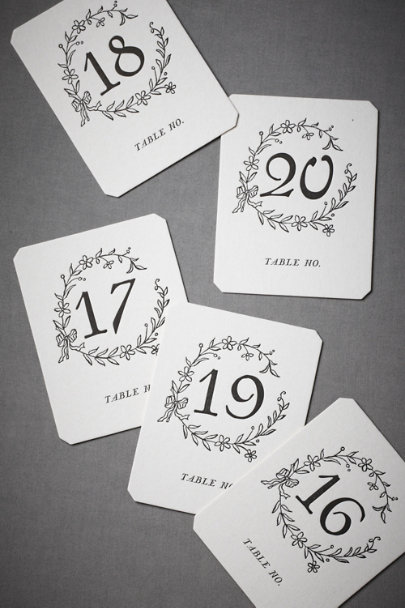 Black Hollyhock Table Cards (1-15/16-20) | BHLDN