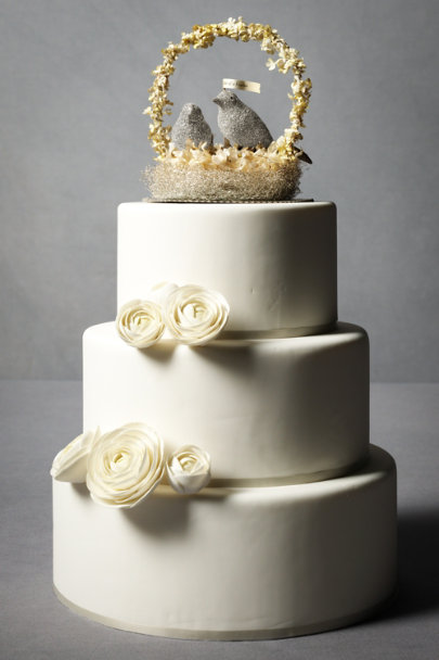 Silver Birds Of A Feather Cake Topper | BHLDN