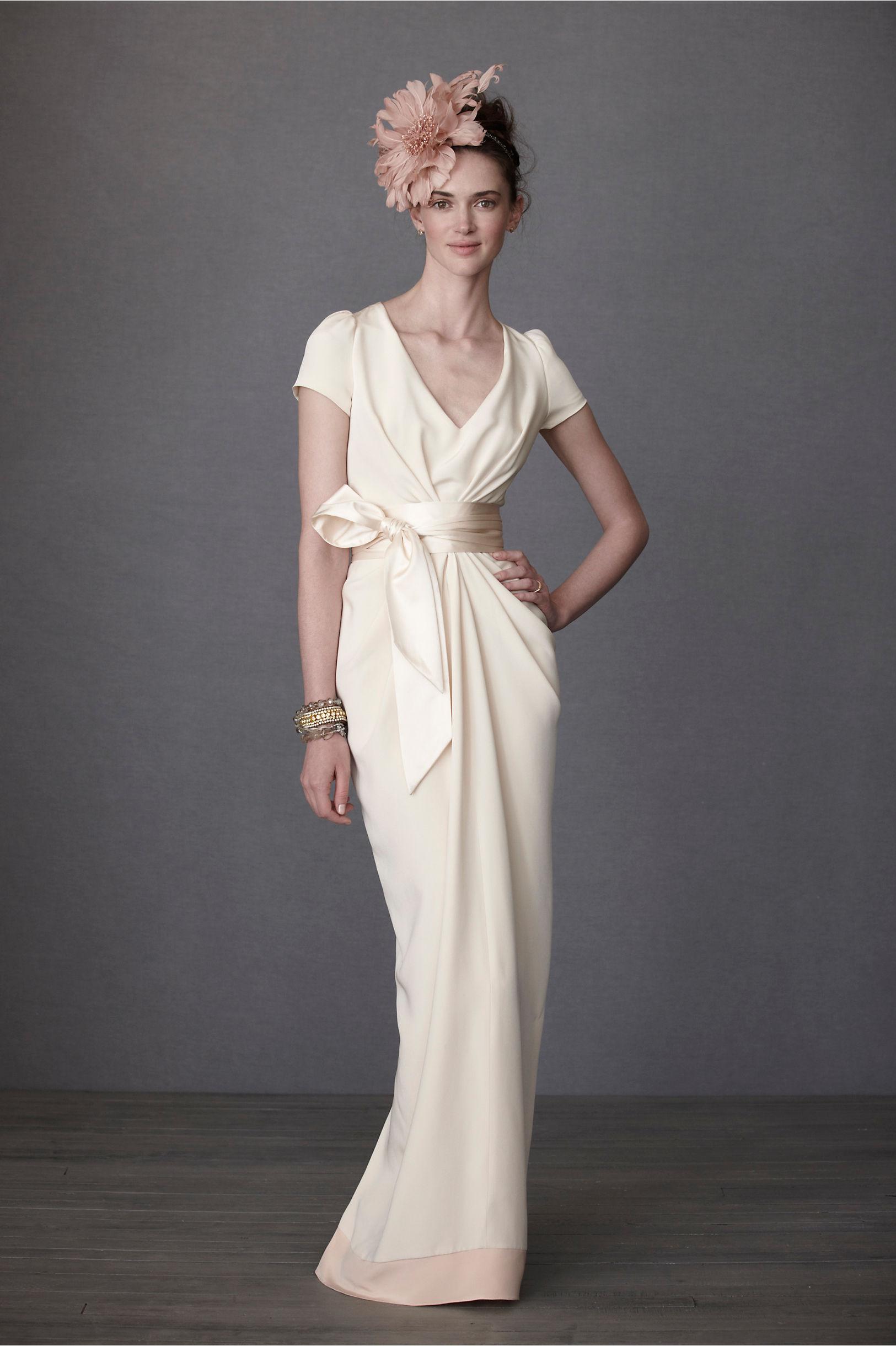 Crepe De Chine Column Gown in Bride | BHLDN