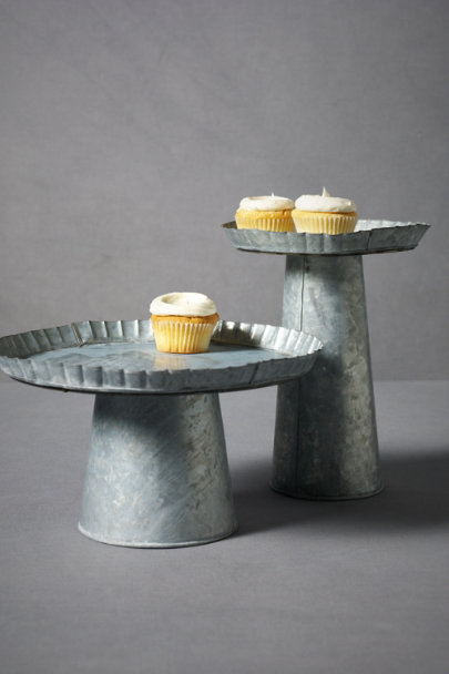 Silver Galvanized Treat Pedestals | BHLDN