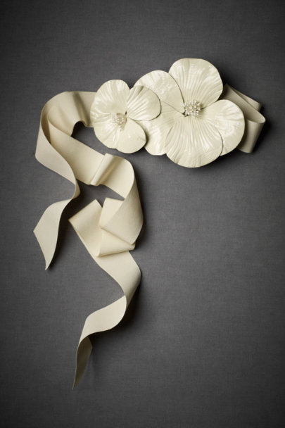 Ivory Patent Poppies Belt | BHLDN