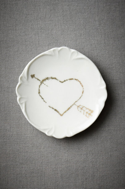 White Pierced Heart Truffle Plate (8) | BHLDN